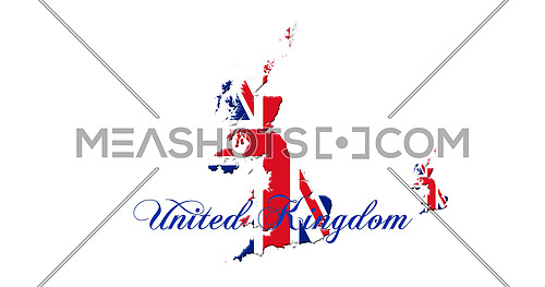 United Kingdom Map With Flag and Country Name On It Isolated On White Background 3D illustration