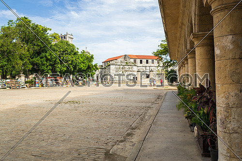 An ancient square in the historic center of Havana, Cuba