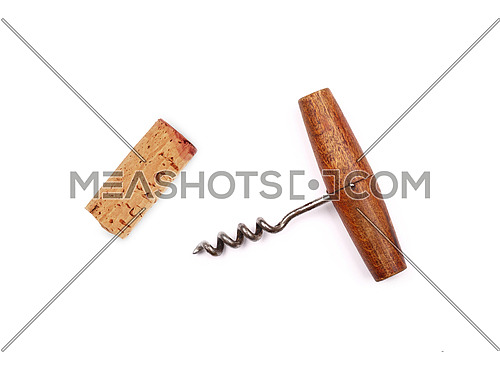 One old vintage wooden corkscrew bottle opener and red wine cork isolated on white background, elevated top view, directly above