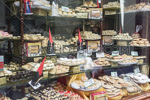 Showcase of pastry traditional during the week of the feast of Holy Week, sweets are typical of the region of Cadiz, Andalusia, Spain