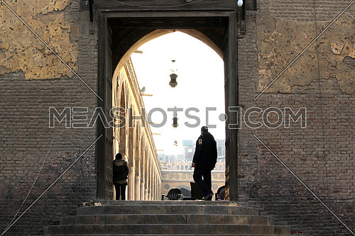 a photo for the entrance of AHMED bin TOLON Mosque in old Cairo , Egypt