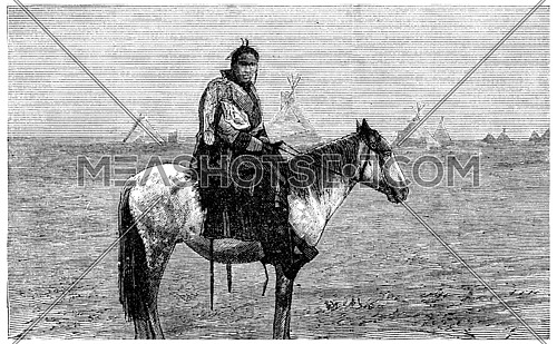 Chief Blackfoot watching a train go by, vintage engraved illustration. Journal des Voyage, Travel Journal, (1880-81).