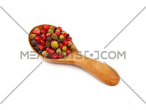 Close up one wooden scoop spoon full of mixed black, green, white and pink red pepper peppercorns isolated on white background, high angle view