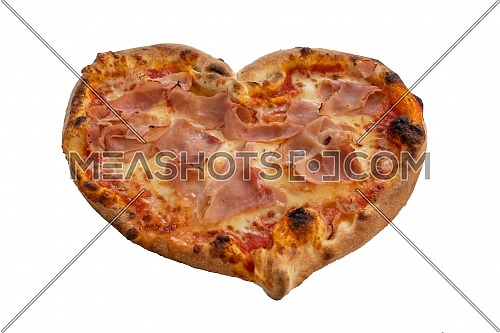 Heart shaped pizza with tomatoes and ham for Valentines Day isolated on white background,Food concept of romantic love