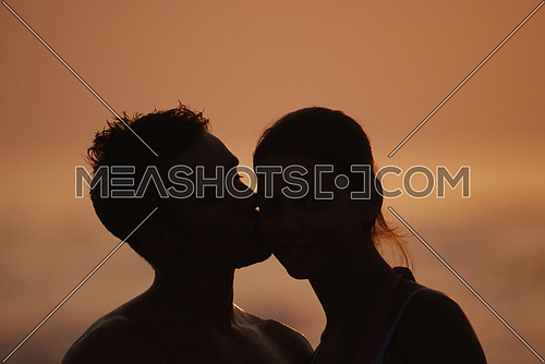 Romantic couple by the beach