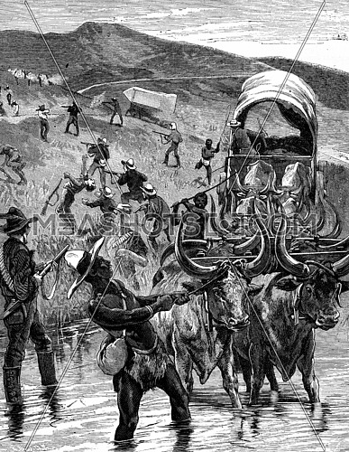 The Boers. Crossing a ford on the enemy, vintage engraved illustration. Journal des Voyage, Travel Journal, (1880-81).