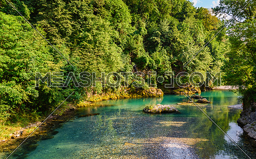 A wonderful view of the famous river Serio, is located in the Lombardy region in the Seriana Valley, Italy.