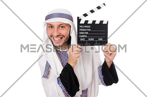 Arab man with movie clapper on white