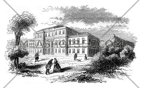 View of the hotel from Neubad, vintage engraved illustration. Magasin Pittoresque 1847.