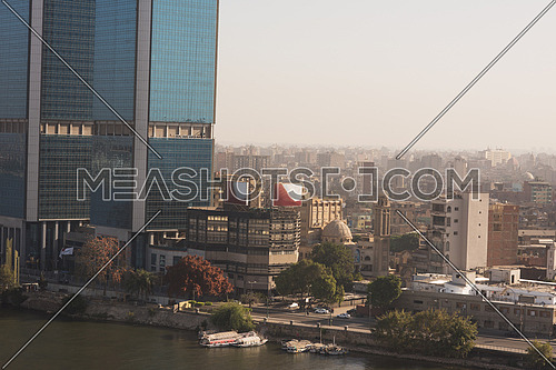 aerial view of modern Cairo city downtown with Nile