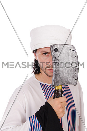 Arab man with axe on white