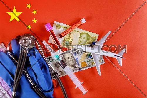 Coronavirus chinese infection, planes fly with Coronavirus infected blood over flag of China. 2019-nCoV