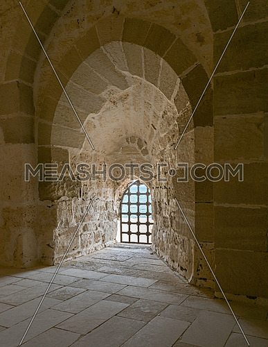 Stone wall and iron grid window, Alexandria Citadel