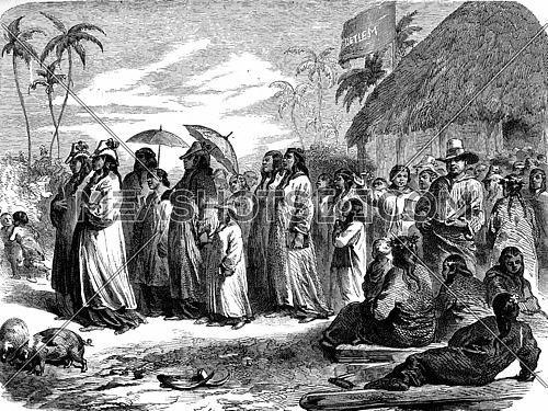Tahiti. The output of the temple, vintage engraved illustration. Journal des Voyages, Travel Journal, (1880-81).