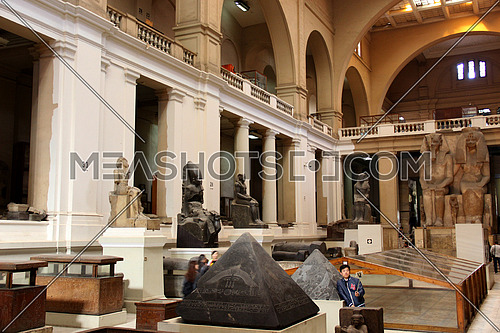 a photo from the Egyptian museum showing ancient statues belonging to the pharaohs civilization , meanwhile it might has editorial value for tourism