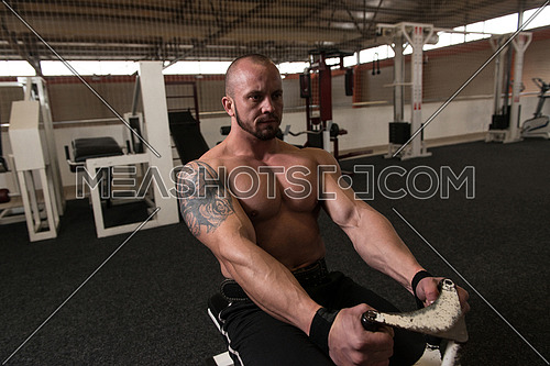 Bodybuilder Doing Back Exercises In The Gym
