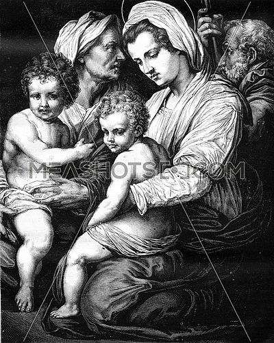 Holy Family by Andrea del Sarto, in the Louvre Museum, vintage engraved illustration. Magasin Pittoresque 1880.