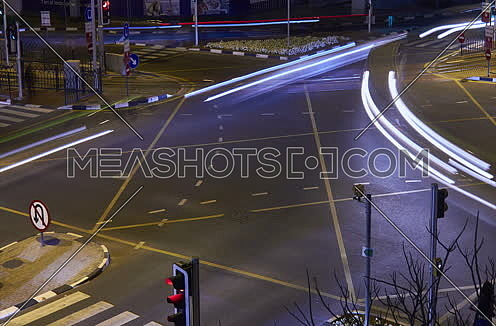 Cross Road intersection in dubai at night timelapse