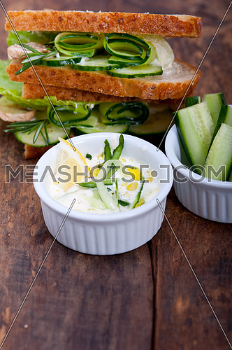 fresh vegetarian sandwich with garlic cheese dip salad on rustic table