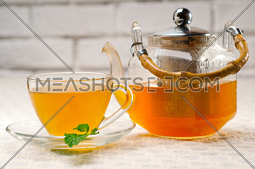 fresh brewed selection of tea clodeup macro