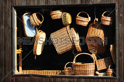 cane furniture and bottle with wood decoration outdoor in nature
