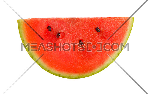 Close up half slice cut of fresh red ripe juicy watermelon isolated on white background, directly above, elevated top view