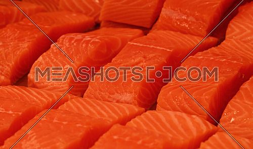 Close up several fresh raw salmon fish filet steaks on ice at retail display of fisherman market, high angle view