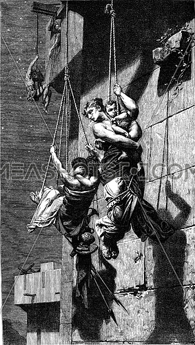 The Fugitives table by Pierre Paul Léon Glaize, vintage engraved illustration. Magasin Pittoresque 1878.