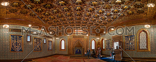 Panorama shot inside Prince Mohamed Ali Palace in Manial