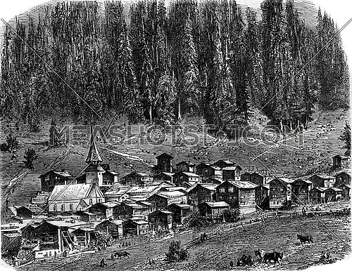 The Village of Saint-Nicolas, Switzerland, vintage engraved illustration. Magasin Pittoresque 1877.