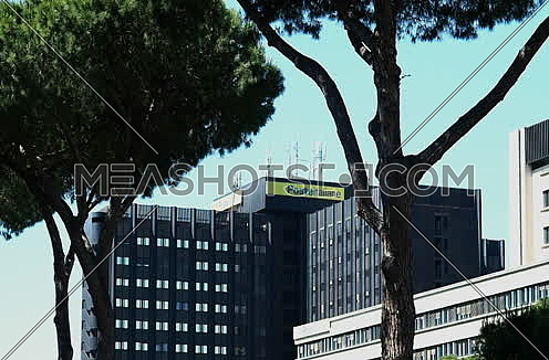 "View of the headquarters of ""poste Italiane"", EUR District, Rome. June 01, 2017"