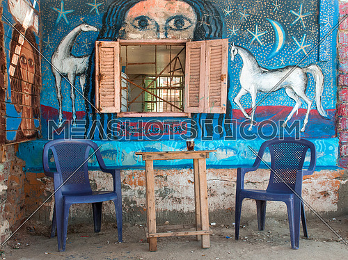 an empty coffee shop in a rural area