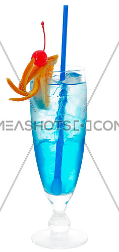 blue long drink cocktail with orange and cherry garnish and blue straw ,isolated on white background