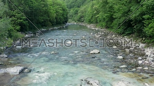 Wonderful Serio river with its crystalline green waters, Bergamo, Seriana valley,Italy.
