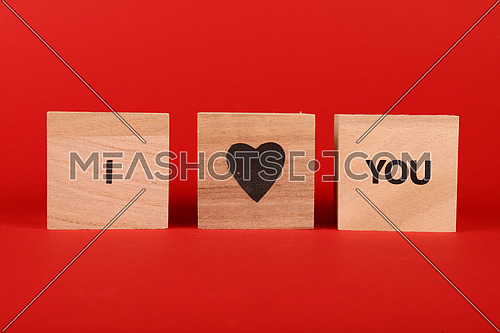 Wooden cube signs with I LOVE YOU words over red background and copy space, low angle view