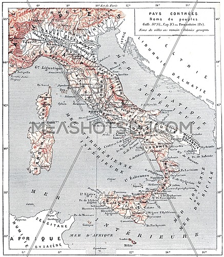 Map of ancient Italy, vintage engraved illustration. Dictionary of words and things - Larive and Fleury - 1895.