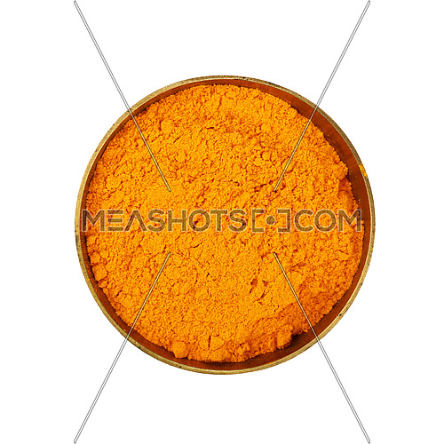 Close up one bronze metal bowl full of yellow turmeric powder spice isolated on white background, elevated top view, directly above