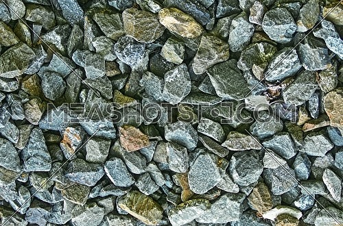Stone pebbles for interior exterior decoration and industrial construction concept design.