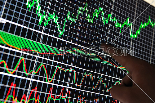 stock market graph on big lcd display closeup macro