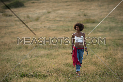 Healthy Looking Smiling Young African American Female beautiful summer evening in nature