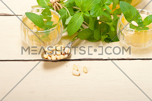 Arab traditional style  mint and pine nuts tea called  at tay