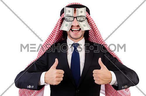 Arab businessman in eyeglasses with dollar in funny concept isolated on white