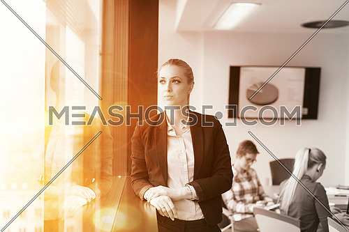 portrait of young business woman at modern startup office interior team in meeting group in background