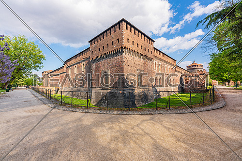 Wonderful panoramic of old medieval Sforza castle,sunny day and clouds, Milan,Italy.