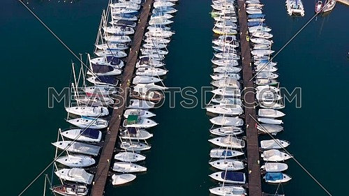Nice birds eye view of the  Lovere port,Iseo  lake,Lombardy italy.