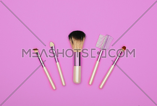 Close up set of different natural face makeup brushes over pink background, elevated top view, directly above