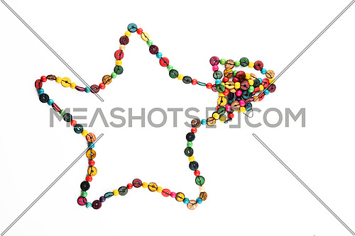 Star shaped colorful handmade wooden round beads necklace isolated on white