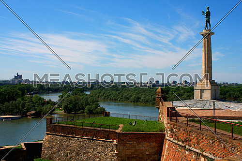 Belgrade with the beautiful view on the Kalemegdan and the Pobednik monument