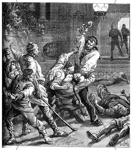 Yellow brigands, The sailor had grabbed and had crushed their face, vintage engraved illustration. Journal des Voyage, Travel Journal, (1880-81).