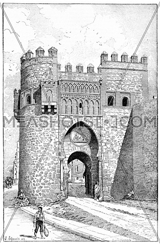 Puerta del Sol, a city gate of Toledo, Spain, vintage engraved illustration. Dictionary of words and things - Larive and Fleury - 1895.